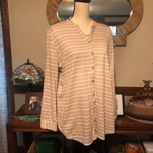 New! Cream & oatmeal colored striped top